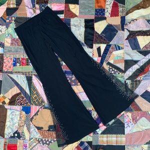 Vintage Rhinestone Embellished Flare Dance Pants